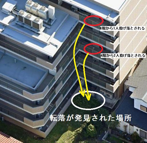 川崎市 老人ホーム転落死 発見場所と投げ落とされた場所.png